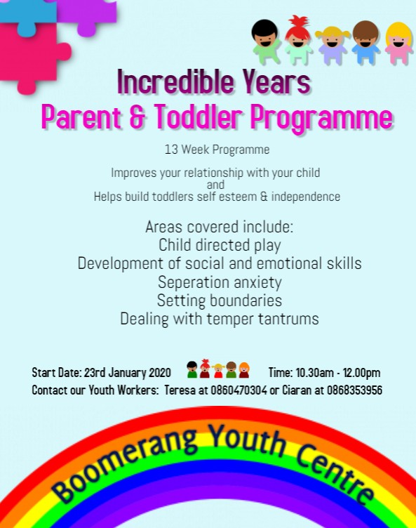 Incredible Years Parent & Toddler Programme commencing shortly at Boomerang