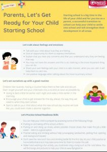 Tips sheet to help parents prepare children for school