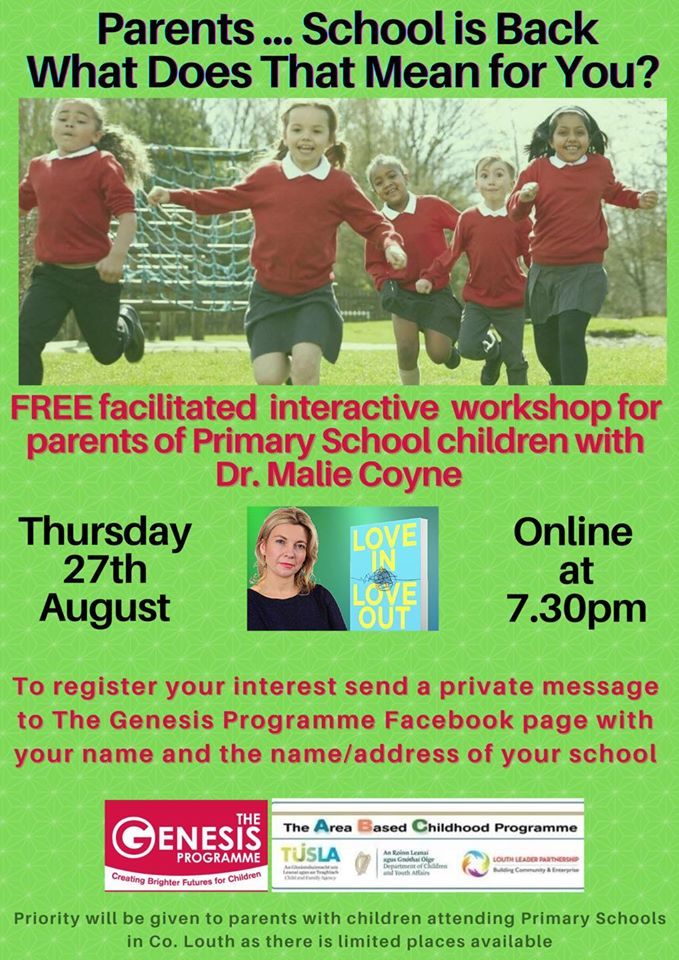 FREE back to school workshop for Parents with Dr.Malie Coyne hosted by The Genesis Programme